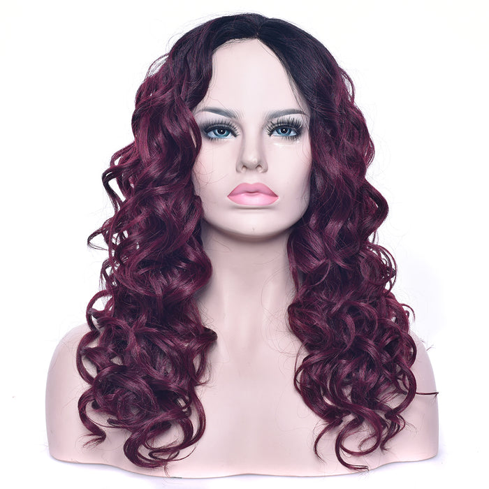 60cm Black To Burgundy Ombre Long Curly Wigs Fake Hairpieces Synthetic Hair Yaki Cosplay Women