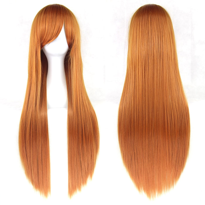 80cm Long Straight Wig Women Synthetic Hair Hairpiece