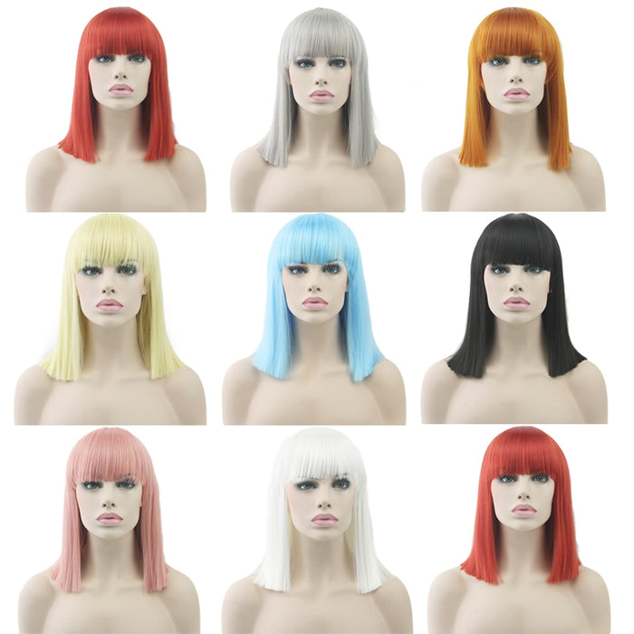 Medium Straight Women Hairpiece Cosplay Wigs ( 9 colors)