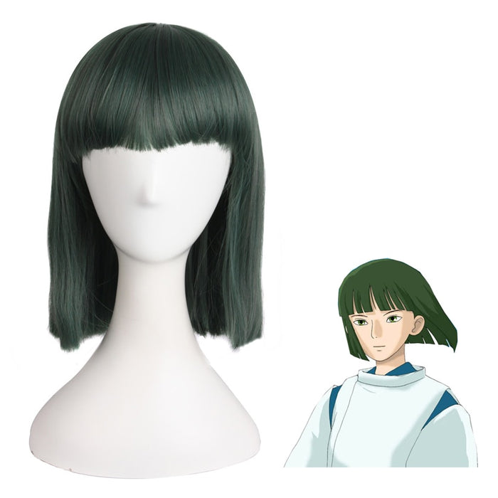 Spirited Away Nigihayami Kohakunushi  Anime Game Costume Cosplay 30cm Short Straight Wig Dark Green