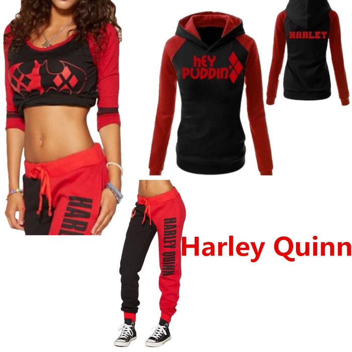 Suicide Squad Harley Quinn Cosplay Costumes Hoodies Top Tracksuit