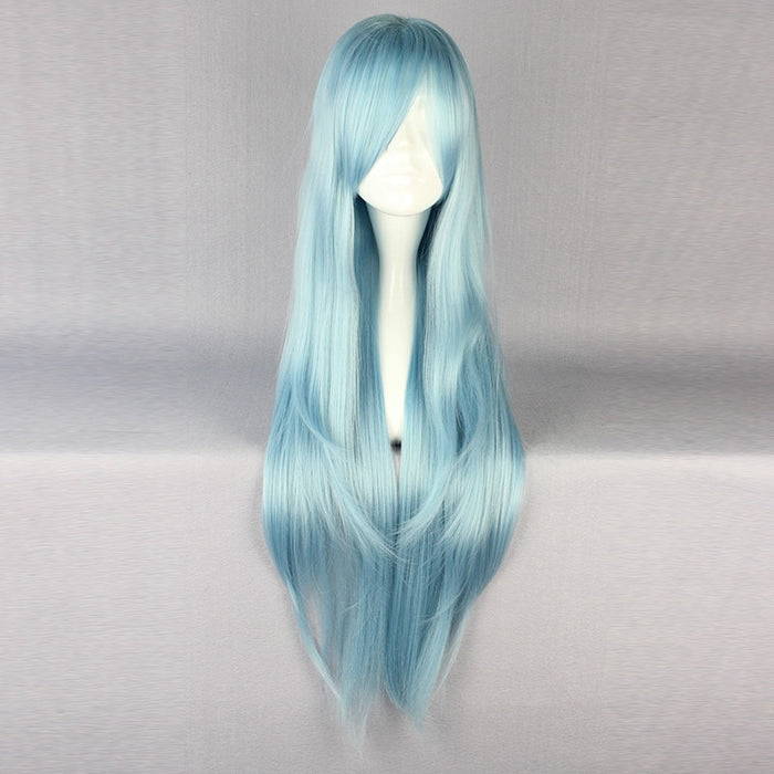 Sao Asuna Yuuki Yuki Sword Art Online Long Straight Wig Blue or Gold Heat Resistant Hair Cosplay Costume Wig + Free Wig Cap
