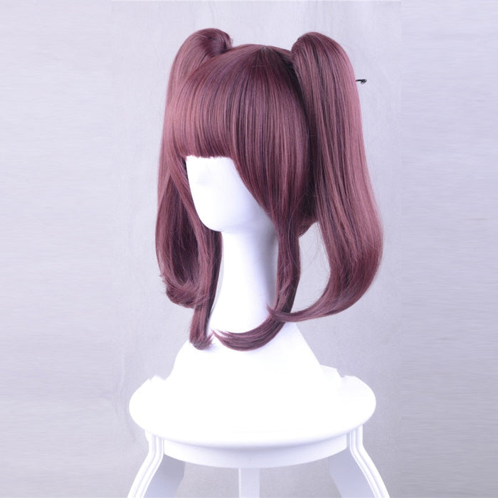 Ogata Chieri THE IDOLM@ST CINDERELLA GIRLS Cosplay 35cm Medium Wig Wine Red Claw Clip Ponytail Synthetic Hair Wig for Women Girls
