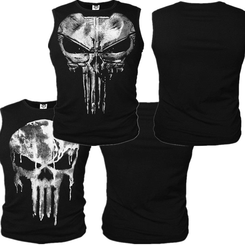 The Punisher Cosplay Skull Vest Daredevil T-shirt