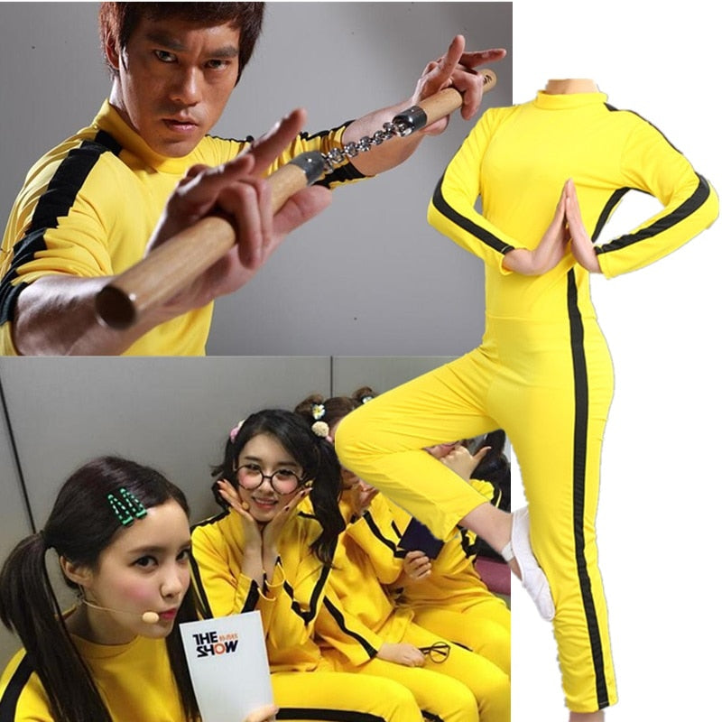 Bruce Lee Jeet Kune Do Chinese Kung Fu Jumpsuit Cosplay Costume Zentai Suit