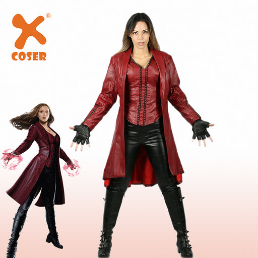 Captain America Civil War Scarlet Witch Halloween Christmas Party PU Faux Leather Cosplay Costume Suit Women