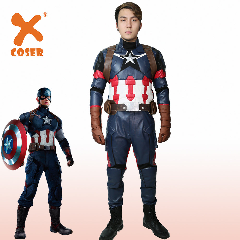 Captain America Steve Rogers Cospaly Costume Civil War Superhero  Halloween Party For Man