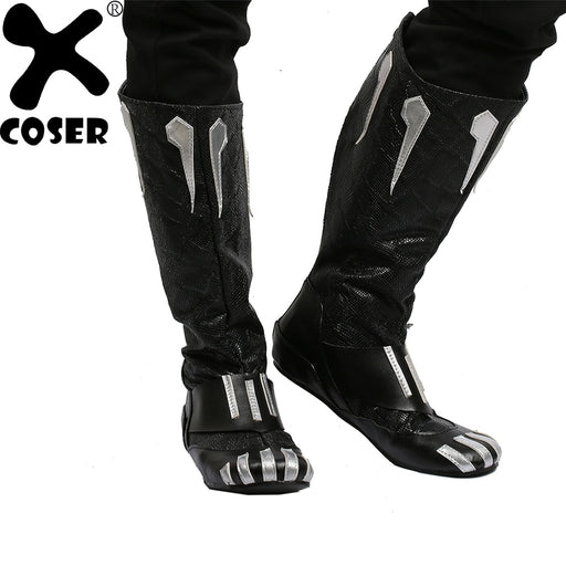 Hot New Arrival Black Panther Cosplay PU Boots Costume Halloween Party For Men