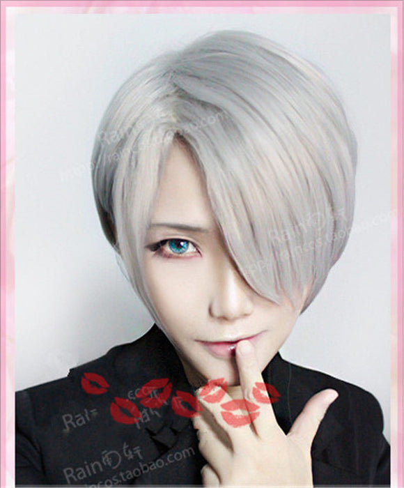 "Viktor Nikiforov Yuri!!! on Ice 12"" Men's Silver Grey Short Straight Wig Side Parting Styled Synthetic Hair +hairnet"