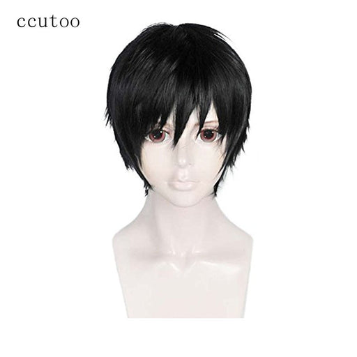 "ccutoo 12"" Black Short Straight Men's High Temperature Fiber Synthetic Hair Party Cosplay Costume Wigs Durarara Izaya Orihara"