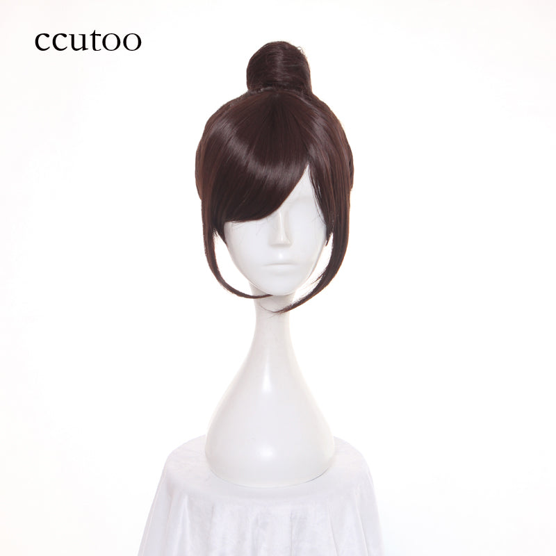 Overwatch Brown Short Wig Hairstyles Synthetic Hair Heat Resistance Fiber With Bun