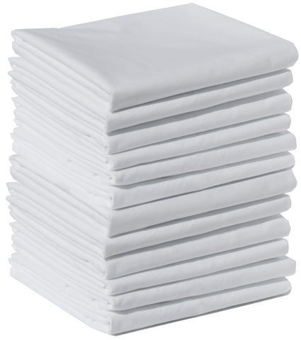"Wholesale Box of 144 Polycotton Standard Size Pillowcases, White 200 Thread Count, 21""x30"" White (Fits 20"" X26"" Pillow), Perfect for Physical Therapy Clinics, Hotels, Camps"