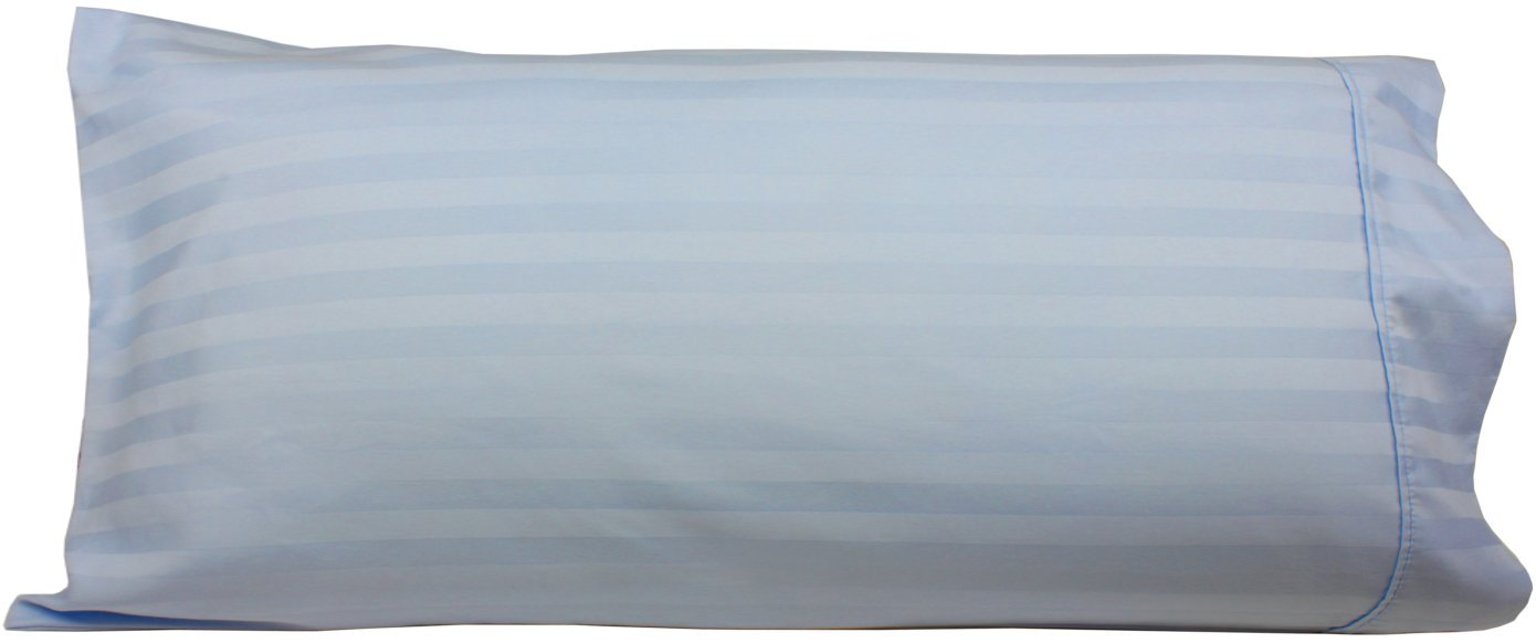 "Body Pillowcase, 100% Egyptian Cotton, 540 Thread Count, 21"" x 60"" Pillow Cover, Striped with Wrinkle Guard by Fits 20"" x 54"", Light Blue"
