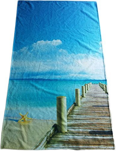 "SALBAKOS Oversized Cotton Beach Towel- Fast Drying Lightweight Beach Blanket - Colorful Printed Velour Made with 100% Cotton, 40"" x 70"" (Tropical Island)"