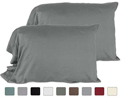 American Pillowcase 100% Cotton, High Thread Count, Luxury Set of Pillow Cases,Standard 21x30 (fits 20x26 Pillow) - Mixed Shades Ash Gray