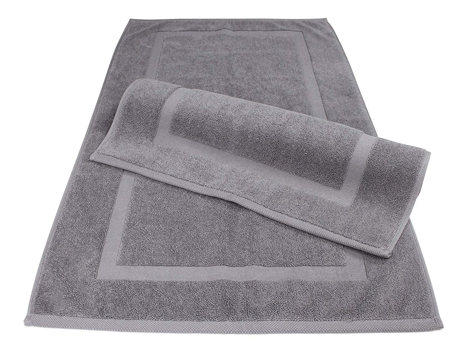 "SALBAKOS Luxury Hotel and Spa 100% Turkish Cotton Banded Panel Bath Mat Set 900gsm! 20""x34"" (Gray, 2 Pack)"