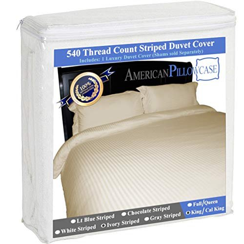 American Pillowcase 100% Egyptian Cotton Luxury Striped 540 Thread Count Duvet Cover with Wrinkle Guard - King/California King, White