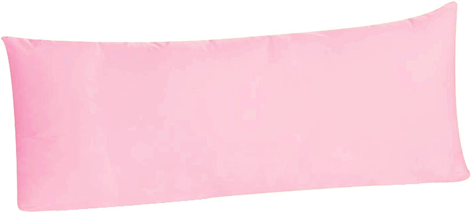 Luxury Egyptian Cotton 300 Thread Count Body Pillowcase - fits 20 x 54 Inch Body Pillow, Envelope Closure (Qty. 1, Pink)