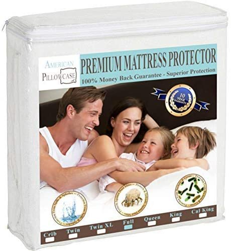American Pillowcase Mattress Protector Hypoallgenic Waterproof Vinyl Free 6 Sizes to Choose from (Full)