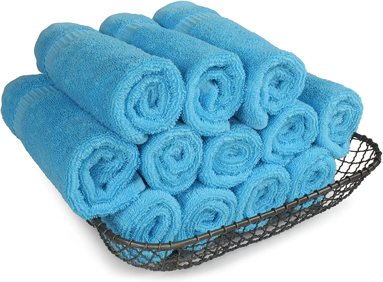 SALBAKOS Luxury Hotel & Spa Turkish Cotton 12-Piece Eco-Friendly Washcloth Set for Bath, 13 x 13 Inch, Navy
