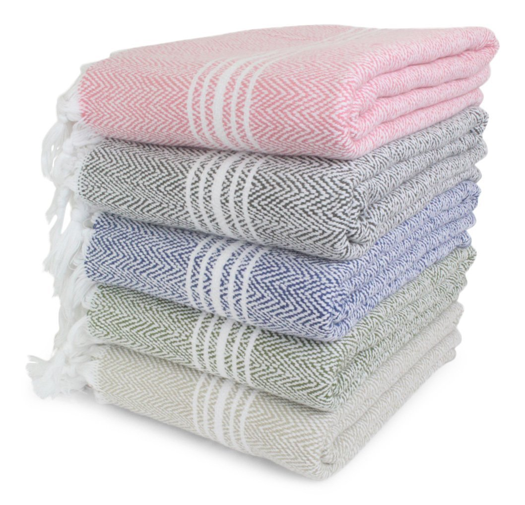 "SALBAKOS Incredibly Soft, Turkish Peshtemal Fouta Towel, Eco-Friendly and Oeko-Tex Certified 100% Cotton, Herringbone for Spa Bath Pool Sauna Picnic Throw Blanket (40""x70"", Pink)"