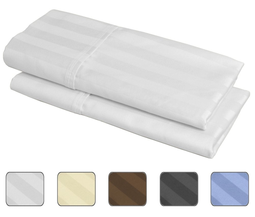100% Egyptian Cotton, 540 Thread Count 2 Pack Striped Standard Size Pillowcases - 4 Colors with Wrinkle Guard to Choose from - fits 20x26 (Color: Ivory)