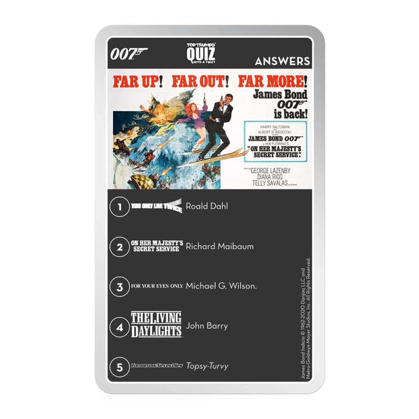 James Bond Top Trumps Quiz Game
