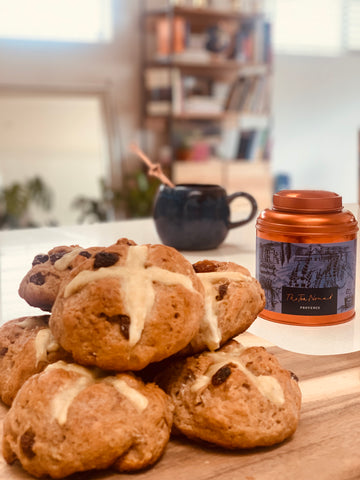 Tea- infused hot cross bun recipe using The Tea Nomad's Provence blend