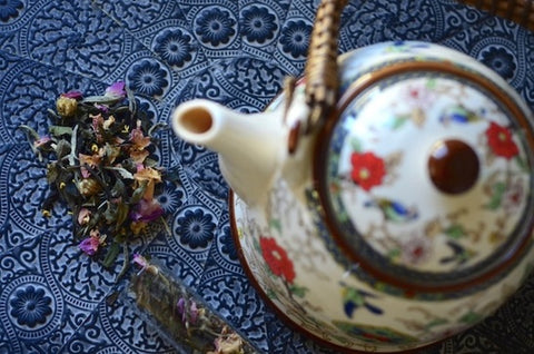 The Tea Nomad's Shanghai blend: a white tea featuring lychee, chrsyanthemum, osmanthus flowers and pink rose petals