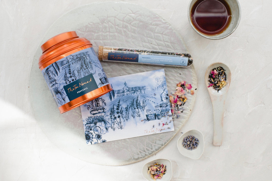 The Tea Nomad's Provence blend- a bergamot infused, black tea blend featuring lavender, dried sunflower and rose petals.