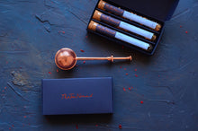 Load image into Gallery viewer, Tea Gift Set and Tea Infuser - a boxed trio of handblended, loose leaf teas and a copper tea infuser by The Tea Nomad