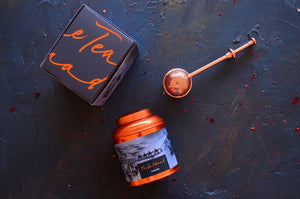 Sahara tea canister and copper tea infuser. Luxury tea gifts from The Tea Nomad