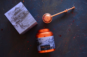 Kyoto Tea Canister and Copper tea infuser. Luxury tea gifts from The Tea Nomad