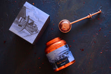 Load image into Gallery viewer, Maldives Tea Canister and Copper tea infuser. Luxury tea gifts from The Tea Nomad