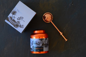 Bali Tea Canister and Copper tea infuser. Luxury tea gifts from The Tea Nomad