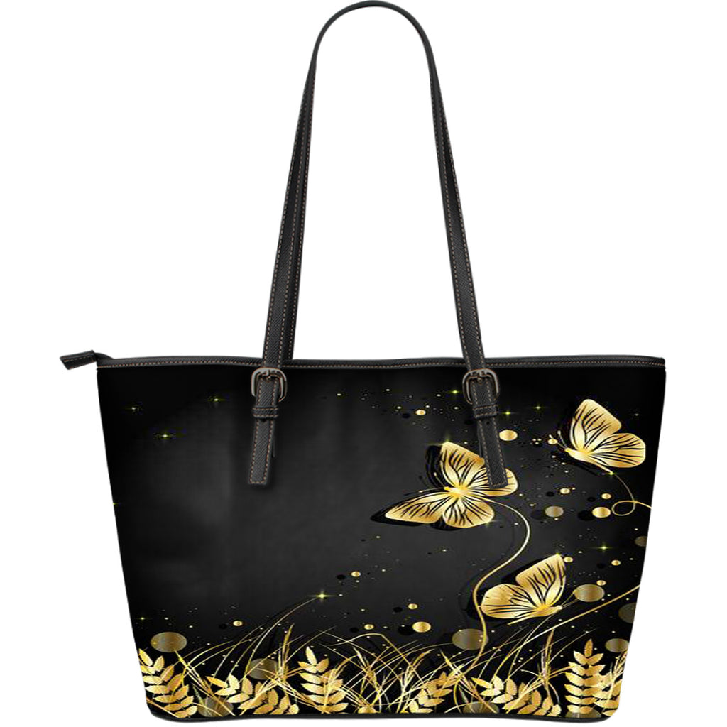 Gold Butterfly Leather Tote Bag