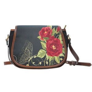 Canvas Leather Red Rose Bag