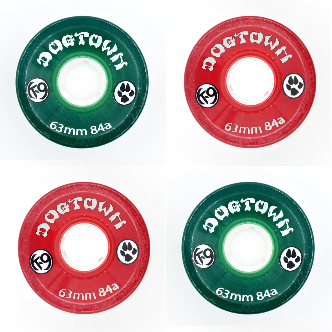 Dogtown K-9 84a 63mm Clear Red / Clear Green Mix Cruiser Skateboard Wheels