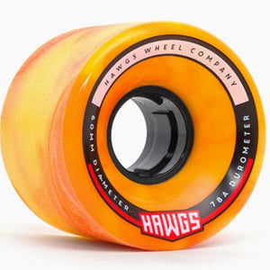 Hawgs Chubby Orange Yellow Swirl Stone Ground 78A 60Mm Cruiser Wheels