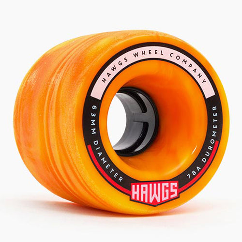 HAWGS Fatty Hawgs Orange Yellow Swirl Stoneground 63mm 78a CRUISER WHEELS