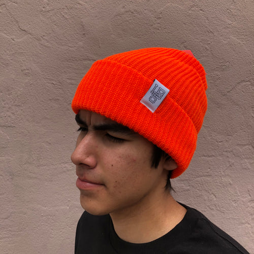 LONG BEACH SKATE CO WATCH CAP ORANGE / WHITE BEANIE