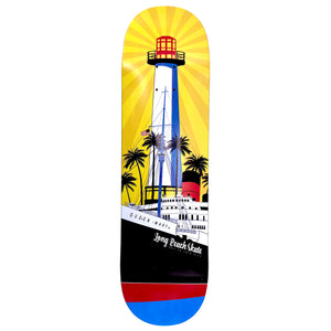 "Long Beach Skate Co. ""Rising Sun on Light Mary"" Gold Red Blue 7.5"" Skateboard Deck"