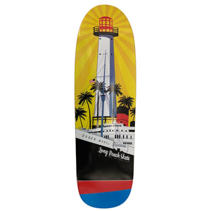 "Long Beach Skate Co. ""Rising Sun on Light Mary"" Gold Red Blue GS5 Mini Shape Skateboard Deck"