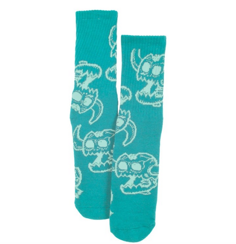 Toy Machine Monster Skull Aqua Crew Socks