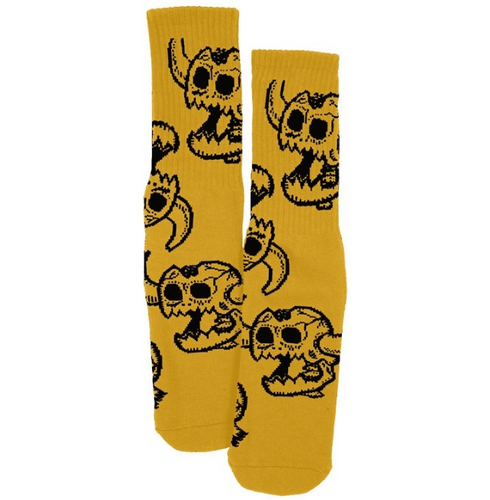 Toy Machine Monster Skull Mustard Crew Socks