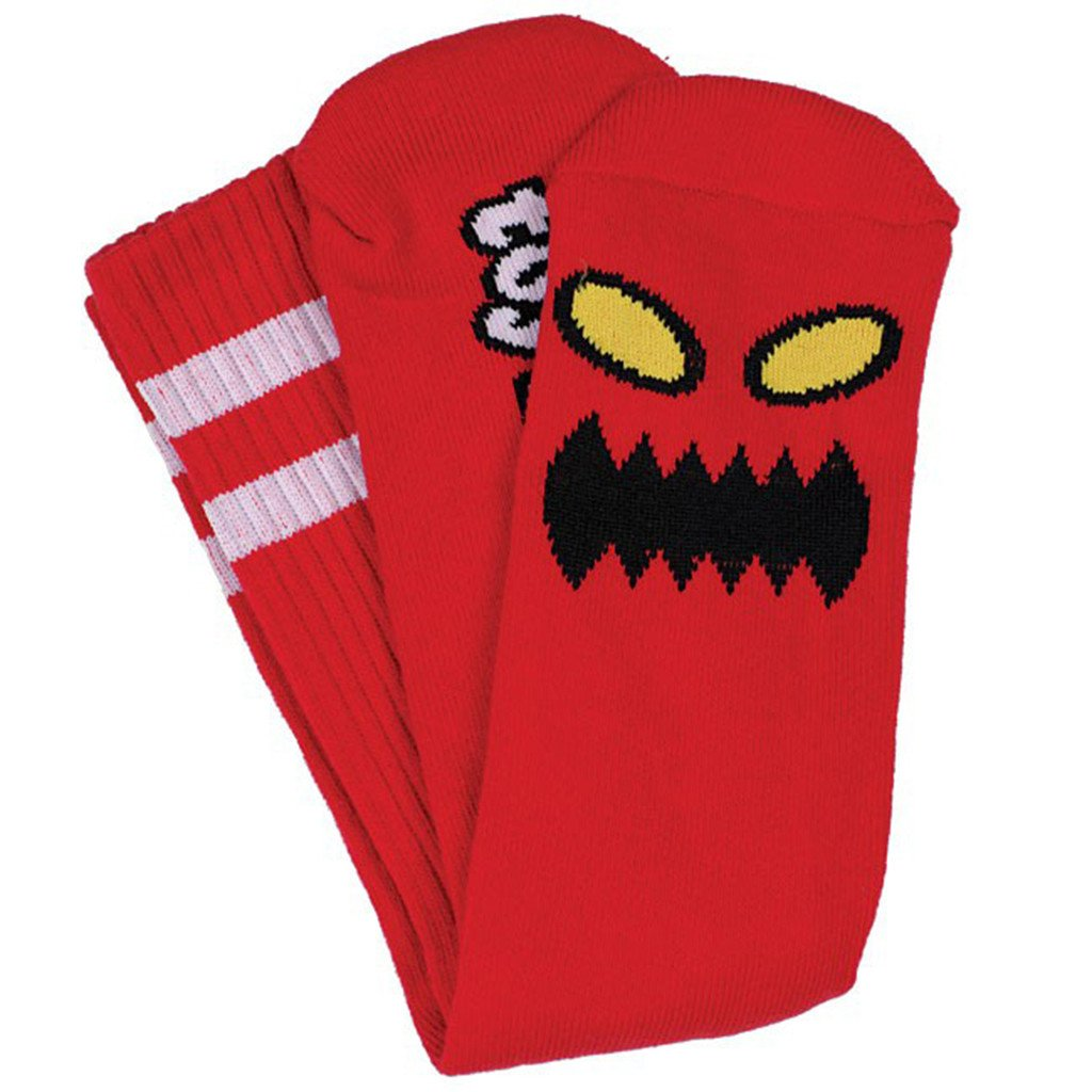 TOY MACHINE MONSTER FACE RED CREW SOCKS