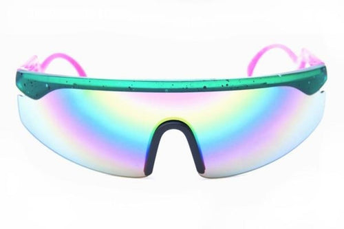 Happy Hour Accelerator Collin Teal Pink Splatter Sunglasses