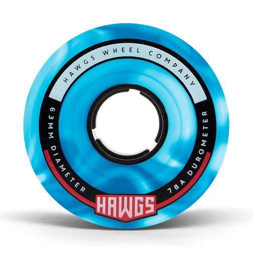 HAWGS Fatty Hawgs Blue White Swirl Glossy 63mm 78a CRUISER WHEELS
