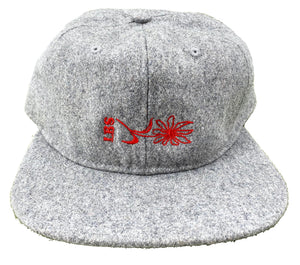 "LB Skate Co. ""Daisy"" LBS Sidelay Grey Wool Low-Pro Flat-Peak Six-Panel Strapback Hat"
