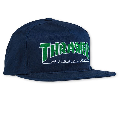 Thrasher Outlined Navy / Green Snapback Hat